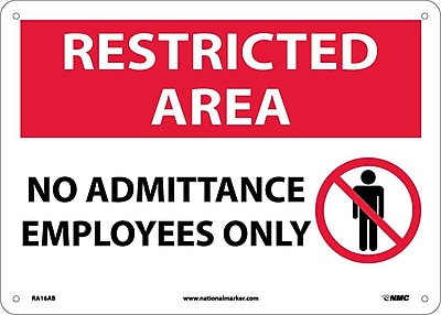 Restricted Area, No Admittance Employees Only, Graphic, 10X14, .040 Aluminum