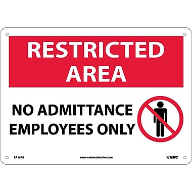 Restricted Area, No Admittance Employees Only, Graphic, 10X14, Rigid Plastic