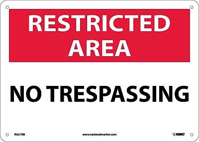 Restricted Area, No Trespassing, 10X14, Rigid Plastic