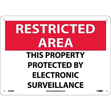 Restricted Area, This Property Protected By Electronic Surveillance, 10X14, Rigid Plastic