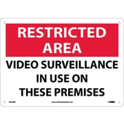 Restricted Area, Video Surveillance In Use On These Premises, 10X14, Rigid Plastic