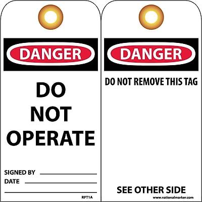 Accident Prevention Tags Danger Do Not Operate 6X3 Unrip Vinyl, 25/Pk W/ Grommet