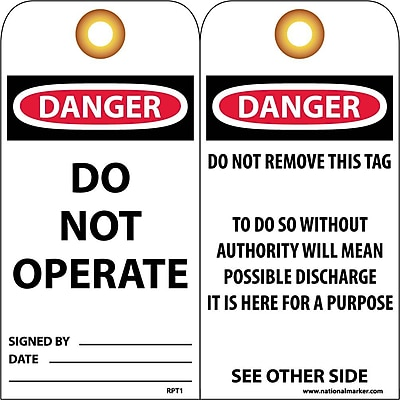 Accident Prevention Tags Danger Do Not Operate 6X3 Unrip Vinyl 25/Pk W/ Grommet