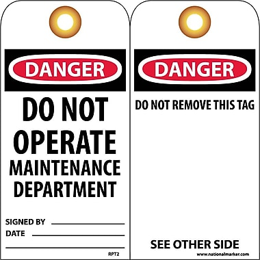 Accident Prevention Tags, Danger Do Not Operate Maintenance Dept, 6