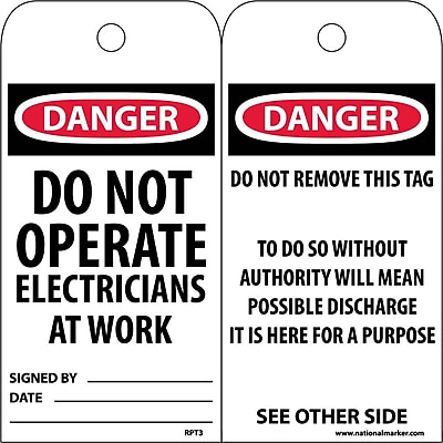 Accident Prevention Tags, Danger Do Not Operate Electricians. . ., 6X3, Unrip Vinyl, 25/Pk