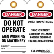 Accident Prevention Tags, Danger Do Not Operate Men Working