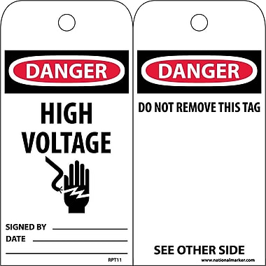 Accident Prevention Tags, Danger High Voltage, 6