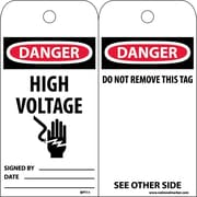 Accident Prevention Tags, Danger High Voltage, 6X3, Unrip Vinyl, 25/Pk