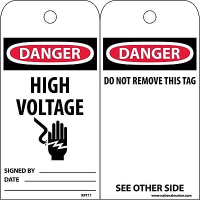 Accident Prevention Tags, Danger High Voltage, 6X3, Unrip Vinyl, 25/Pk