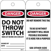 Accident Prevention Tags, Danger Do Not Throw Switch Men At Work, 6X3, Unrip Vinyl, 25/Pk