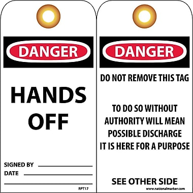 Accident Prevention Tags, Danger Hands Off, 6