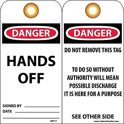 Accident Prevention Tags, Danger Hands Off, 6X3, Unrip Vinyl, 25/Pk W/ Grommet