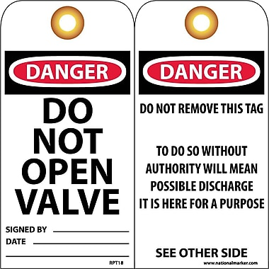 Accident Prevention Tags, Danger Do Not Open Valve, 6