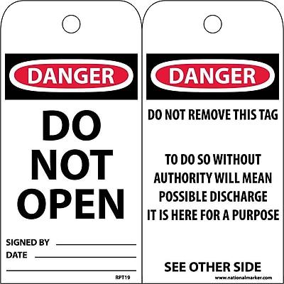 Accident Prevention Tags, Danger Do Not Open, 6X3, Unrip Vinyl, 25/Pk