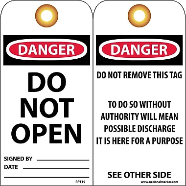 Accident Prevention Tags, Danger Do Not Open, 6