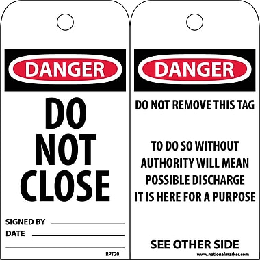 Accident Prevention Tags, Danger Do Not Close, 6