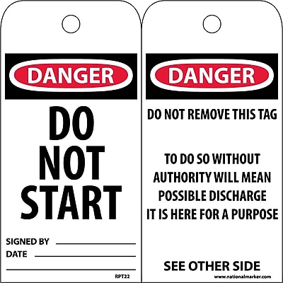 Accident Prevention Tags, Danger Do Not Start, 6X3, Unrip Vinyl, 25/Pk