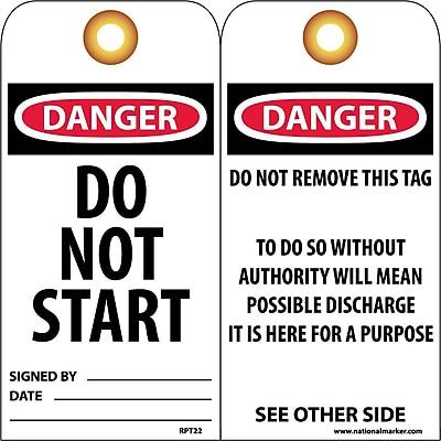 Accident Prevention Tags, Danger Do Not Start, 6X3, Unrip Vinyl, 25/Pk W/ Grommet