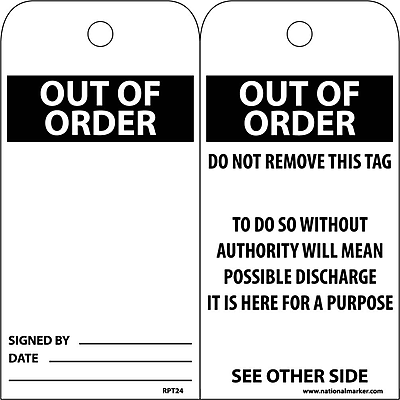 Accident Prevention Tags, Out Of Order, 6X3, Unrip Vinyl, 25/Pk