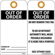 Accident Prevention Tags, Out Of Order, 6X3, Unrip Vinyl, 25/Pk W/ Grommet