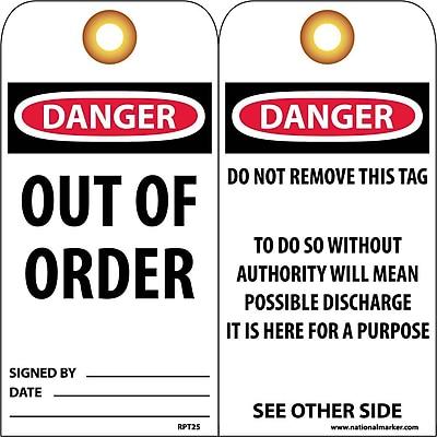 Accident Prevention Tags, Danger Out Of Order, 6X3, Unrip Vinyl, 25/Pk W/ Grommet