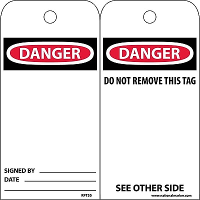 Accident Prevention Tags Danger 6X3 Unrip Vinyl 25/Pk