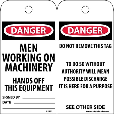 Accident Prevention Tags, Danger Men Working On Machinery. . ., 6X3, Unrip Vinyl, 25/Pk