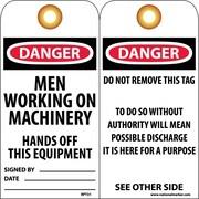 Accident Prevention Tags, Danger Men Working On Machinery. . ., 6X3, Unrip Vinyl, 25/Pk W/ Grommet