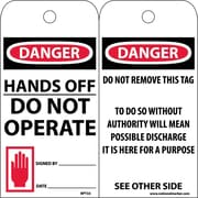 Accident Prevention Tags, Danger Hands Off Do Not Operate, 6X3, Unrip Vinyl, 25/Pk