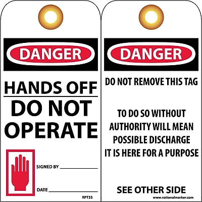 Accident Prevention Tags, Danger Hands Off Do Not Operate, 6X3, Unrip Vinyl, 25/Pk W/ Grommet
