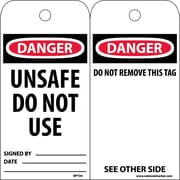 Accident Prevention Tags, Danger Unsafe Do Not Use, 6X3, Unrip Vinyl, 25/Pk