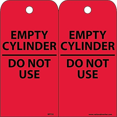 Accident Prevention Tags, Empty Cylinder Do Not Use, 6X3, Unrip Vinyl, 25/Pk