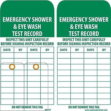Accident Prevention Tags, Emergency Shower and Eye Wash Test Record, 6