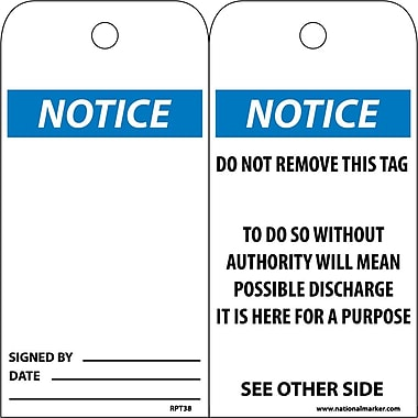 Accident Prevention Tags, Notice, 6