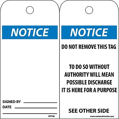 Accident Prevention Tags, Notice, 6X3, Unrip Vinyl, 25/Pk