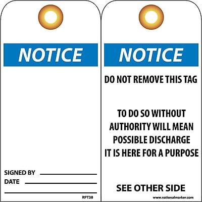 Accident Prevention Tags, Notice, 6X3, Unrip Vinyl, 25/Pk W/ Grommet