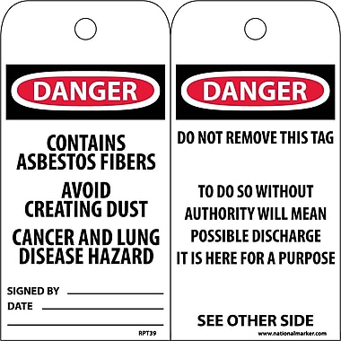 Accident Prevention Tags, Danger Contains Asbestos Fiber. . ., 6X3, Unrip Vinyl, 25/Pk