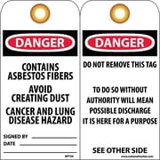 Accident Prevention Tags, Danger Contains Asbestos Fiber. . ., 6X3, Unrip Vinyl, 25/Pk W/ Grommet