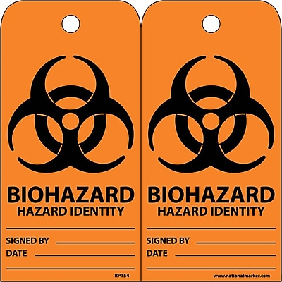 Accident Prevention Tags, Biohazard Hazard Identity, 6X3, Unrip Vinyl, 25/Pk