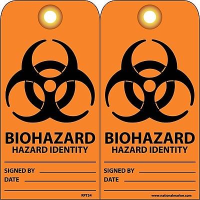 Accident Prevention Tags, Biohazard Hazard Identity, 6X3, Unrip Vinyl, 25/Pk W/ Grommet