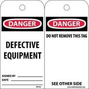 Accident Prevention Tags, Danger Defective Equipment, 6X3, Unrip Vinyl, 25/Pk