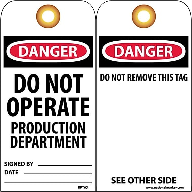 Accident Prevention Tags, Danger Do Not Operate Production Dept., 25/Pack