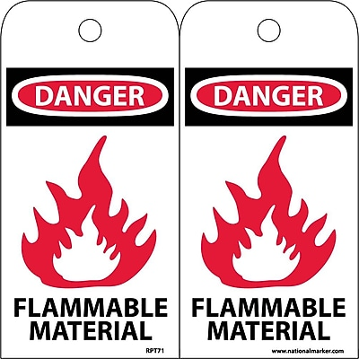 Accident Prevention Tags, Danger Flammable Material, 6X3, Unrip Vinyl, 25/Pk