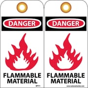 Accident Prevention Tags, Danger Flammable Material, 6X3, Unrip Vinyl, 25/Pk W/ Grommet