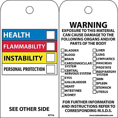 Accident Prevention Tags, Hazardous Materials Color Bar, 6X3, Unrip Vinyl, 25/Pk