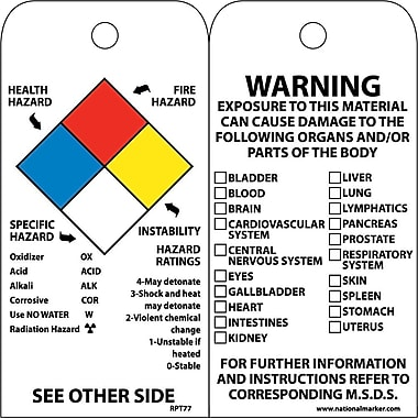 Accident Prevention Tags, Hazardous Materials NFPA, 6