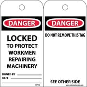 Accident Prevention Tags, Danger Locked To Protect Workmen Repairing. . ., 6X3, Unrip Vinyl, 25/Pk
