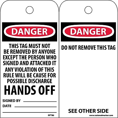 Accident Prevention Tags, Danger This Tag Must Not Be Removed..., 6