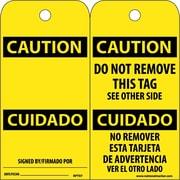 Accident Prevention Tags, Caution Cuidado (Bilingual), 6X3, Unrip Vinyl, 25/Pk