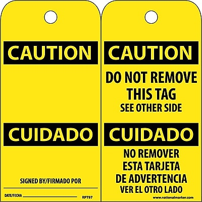 Accident Prevention Tags, Caution Cuidado (Bilingual), 6X3, Unrip Vinyl, 25/Pk